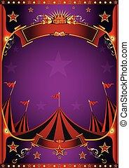 pourpre, affiche, cirque