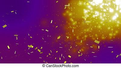 pourpre, animation, or, sur, tomber, fond, confetti, taches, incandescent