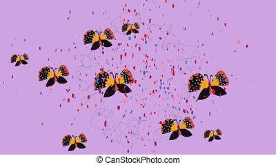 pourpre, animation, papillons, orange, tomber, fond, confetti