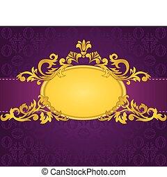pourpre, cadre, or, fond