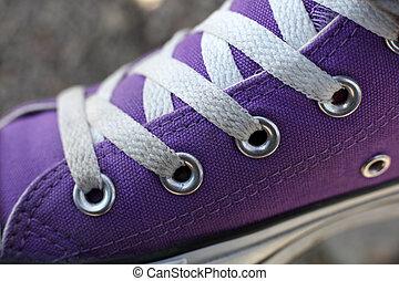 pourpre, chaussure, détail