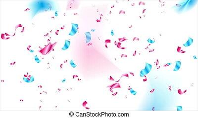 pourpre, confetti, vidéo, animation, scintillement, résumé, bleu