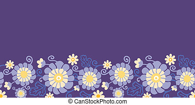 pourpre, modèle, feuilles, seamless, horizontal, fleurs