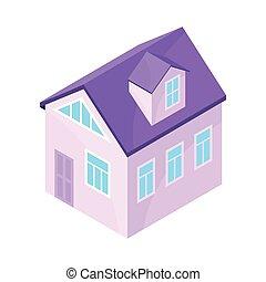 pourpre, moderne, house., illustration, arrière-plan., vecteur, modèle, blanc