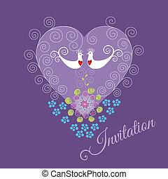 pourpre, oiseaux, amour, inviter, deux