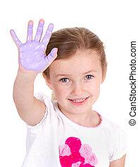 pourpre, peinture, enfant, elle, main