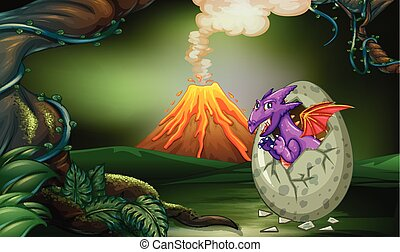 pourpre, profond, dragon, forêt, hachure, oeuf
