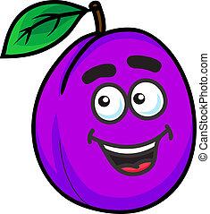 pourpre, prune, fruit, dessin animé