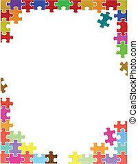 pourpre, puzzle, illustration, morceaux, gabarit, frontière