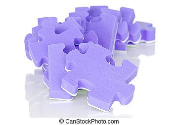 pourpre, puzzle, tas