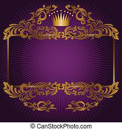 pourpre, symboles, royal, fond
