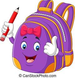 pourpre, tenue, donner, dessin animé, haut, crayon, pouces, école, sac à dos