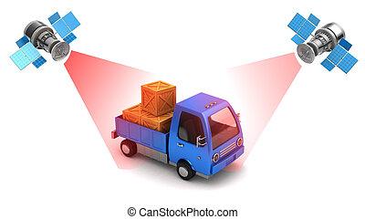 poursuite, camion, emplacement