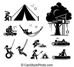 poursuite, extérieur, récréatif, icons., femme, figure bâton
