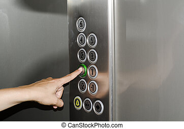 poussée bouton, ascenseur