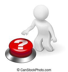 poussée bouton, point interrogation, homme, 3d