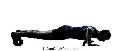 poussée, séance entraînement, homme, augmente, exercisme