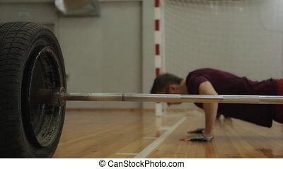 poussées, plancher, bois, haut, barre disques, athlet