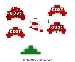 pousse, bas, coûts