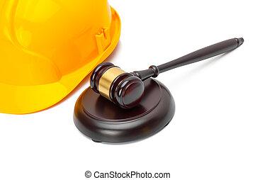 pousse, casque, protecteur, bois, -, juge, studio, marteau