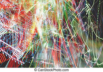 pousse, exposure., bulbs., coloré, arrière-plan., effect., lumière, résumé, néon, long, brouillé, chaotique, freezelight