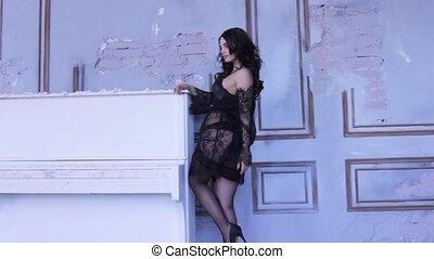 pousse, femme, photo, jeune, mode, poser, bas, lingerie, sexy, dentelle, piano