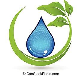 pousse feuilles, logo, goutte, eau verte