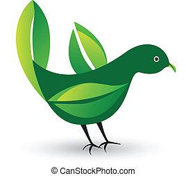 pousse feuilles, oiseau, logo, ailes