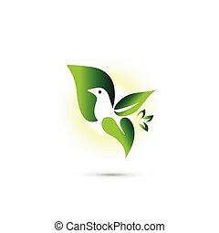 pousse feuilles, oiseau, logo, voler
