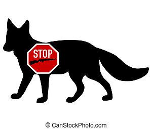 pousse, renard, arrêt