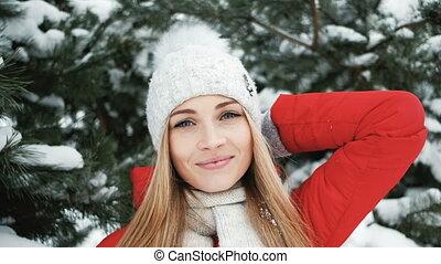 pousse, sapin, femme, hiver, photo, prendre, partie arbre, blond