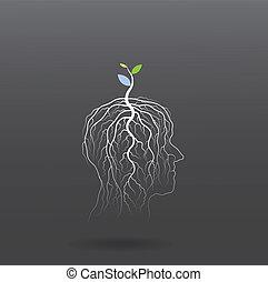 pousse, tête, concept., arbre, idée, penser, vert, humain, grandir, symbole.