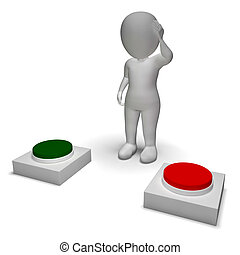 pousser, caractère, indécision, choix, boutons, 3d, spectacles