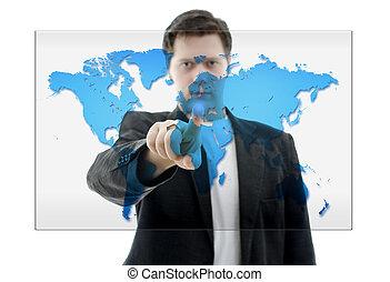 pousser, isolé, homme, interface, toucher, business, map., mondiale, écran, white.