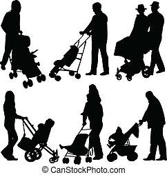 poussette, bébés, gens