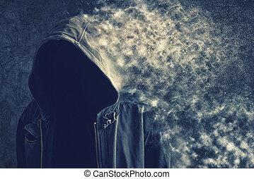 poussière, unrecognizable, disparaître, anonyme, homme