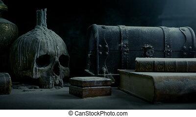 poussiéreux, manoir, vieux, crâne, table