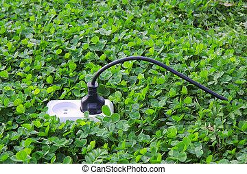 pouvoir électrique, arrière-plan vert, herbe, réceptacle