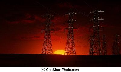 pouvoir revêt, électrique, levers de soleil