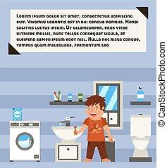 power., peu, lui-même, fatigué, illustration, day., début, assez, vecteur, brosse, bathroom., pas, sommeil, lave, dents, ton, morning.