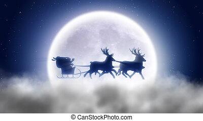 près, sur, mouches, santa, renne