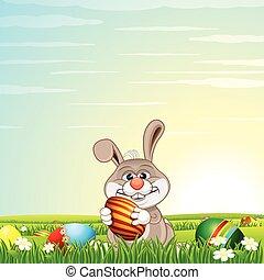 pré, chasse oeuf, vert, lapin pâques