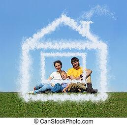 pré, famille, séance, collage, maison, fils, nuage