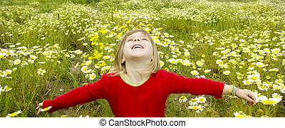 pré, printemps, bras, blonds, pâquerette, girl, fleurs, ouvert