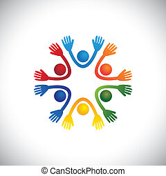 pré, représenter, heureux, enfants, ou, &, aussi, vector., fête, joyeux, coloré, étudiants, gosses, playschool, amis, école, graphique, playhome, ensemble, jouer, boîte, amusement, avoir