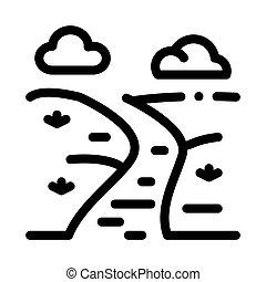 pré, rivière, contour, vecteur, paysage, icône, illustration