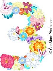 pré, trois, nombre, papillons, fleurs, romantique
