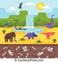 préhistorique, dinosaurs., paysage