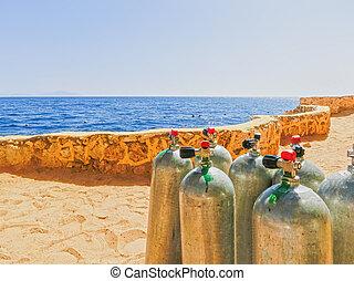 préparé, réservoirs, voyage, air comprimé, plongée