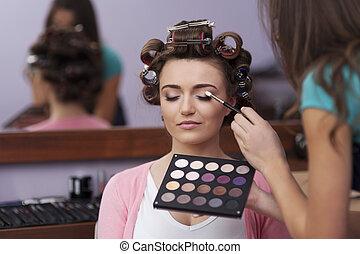 préparation, coiffeur, artiste, maquillage